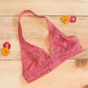 Mulberry Pink Aerie Halter Lace Brallette, Sz S
